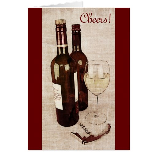 Rustic wine bottles and a glass of white wine greeting card