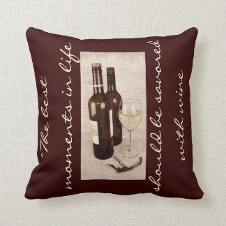 Rustic wine bottles and a glass of wine pillow