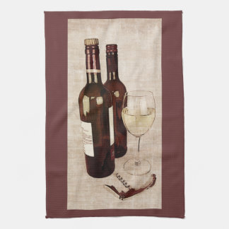 rustic wine bottles and a glass of wine towel
