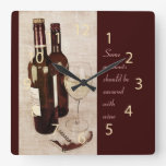 Rustic wine bottles and wine glass clock