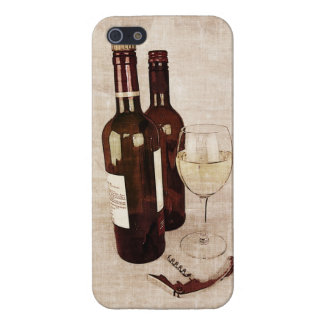 Rustic wine bottles, glass of wine and corkscrew iPhone SE/5/5s cover