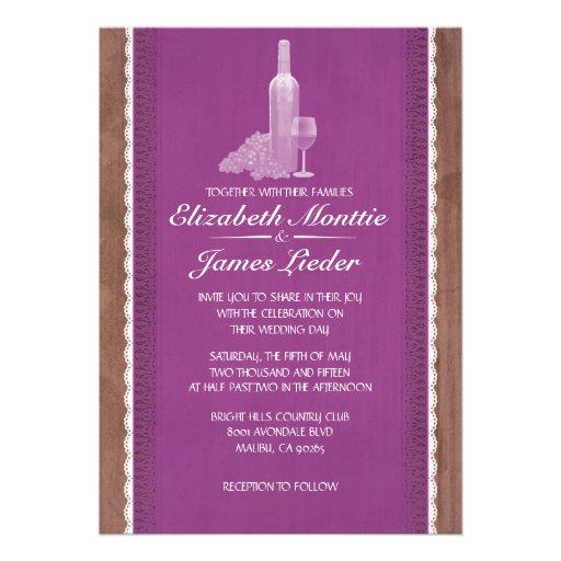 Rustic Wine Bottles Wedding Invitations