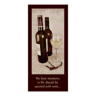 Rustic wine bottles with a glass of wine poster