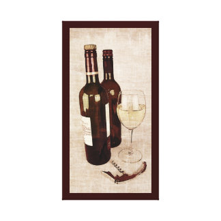Rustic wine bottles with a wineglass canvas print