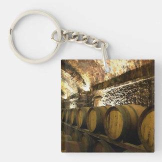 Rustic Wine Cellar Keychain