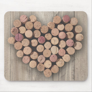 Rustic Wine Cork Heart Mousepad