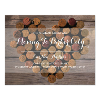 Rustic Wine Cork Heart - Moving Announcement