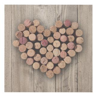 Rustic Wine Cork Heart Panel Wall Art