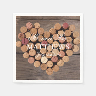 Rustic Wine Cork Wedding Cocktail Napkins