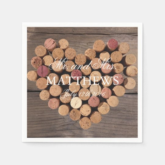 Cork Art Wedding: Rustic Wine Cork Wedding Cocktail Napkins