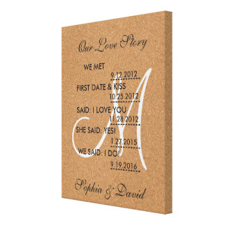 Rustic Wine Cork Wedding Monogram OUR LOVE STORY Canvas Print
