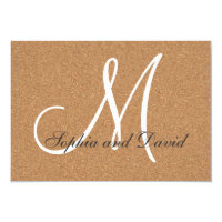 Rustic Wine Cork Wedding Monogram RSVP Card