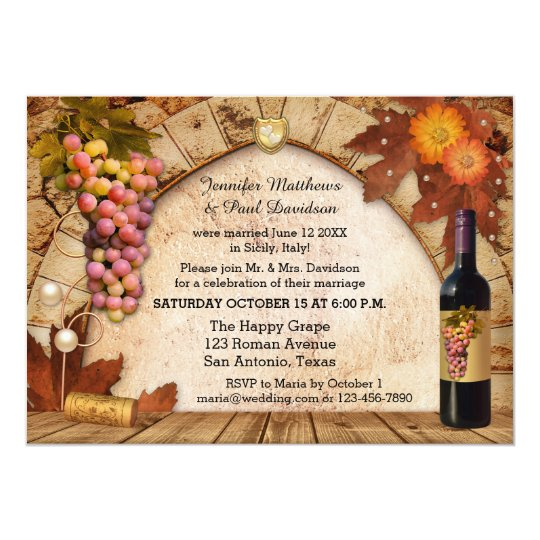 Post Wedding Party Invitation: Rustic Wine Elope Or Post Wedding Party Invitation