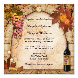 Rustic Wine or Vineyard Theme Wedding Invitation