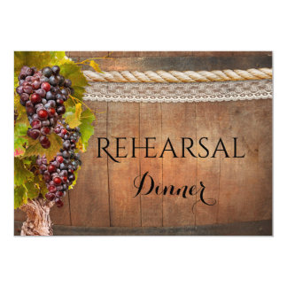 Rustic Wine Themed Rehearsal Dinner Invitation