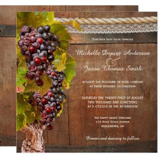 Rustic Wine Themed Vineyard Wedding Invitation