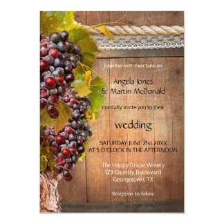 Rustic Wine Themed Vineyard Wedding Invitation