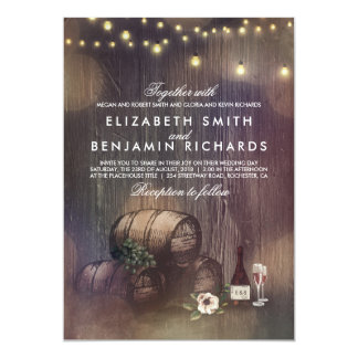 Rustic Winery and String Lights Wedding Card
