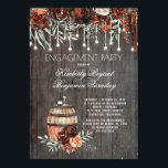 """Rustic Winery Floral Lights Engagement Party Invitation<br><div class=""""desc"""">Farm wine barrel and country chic burgundy / marsala watercolor flowers rustic vineyard / winery fall engagement party invitations</div>"""