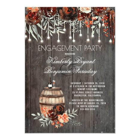 Rustic Winery Floral Lights Engagement Party Invitation