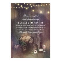 Rustic Winery Lights Wine Tasting Bridal Shower Card