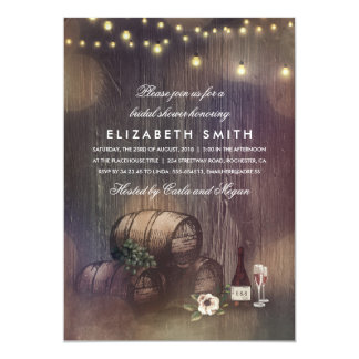 Rustic Winery Lights Wine Tasting Bridal Shower Card