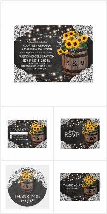 Rustic Winery Sunflowers Lights Invitation Suite