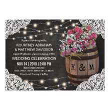 Rustic Winery Wedding Invitation | String Lights Card