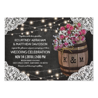 Marvelous Rustic Winery Wedding Invitation | String Lights