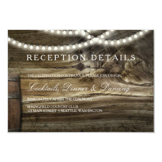 Rustic Winery Wedding Reception Details Card