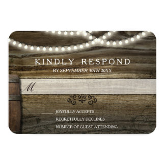 Rustic Winery Wedding RSVP 3.5x5 Paper Invitation Card