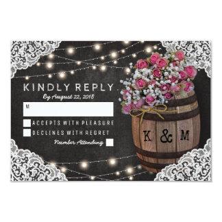 Rustic Winery Wedding RSVP | String Lights Card