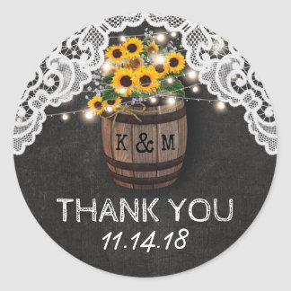 Rustic Winery Wedding | String Lights Sunflowers Classic Round Sticker
