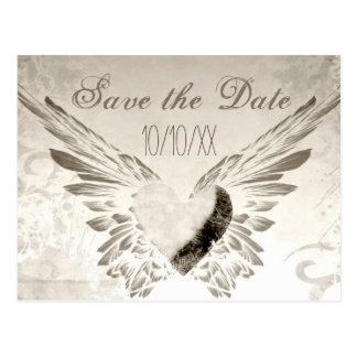 Rustic Wings Angel Heart Vintage Save the Date Postcard