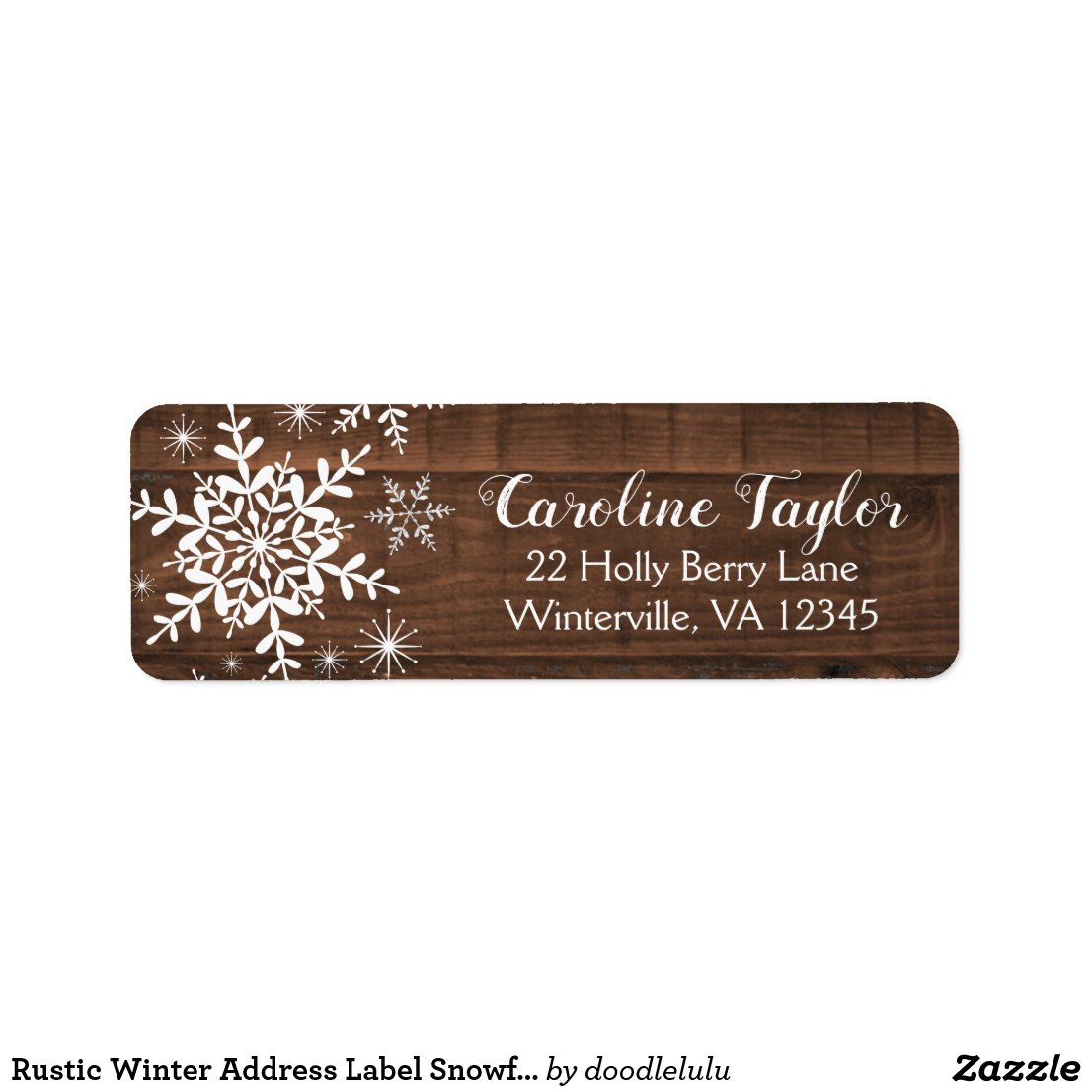 Rustic Winter Address Label Snowflakes on Wood