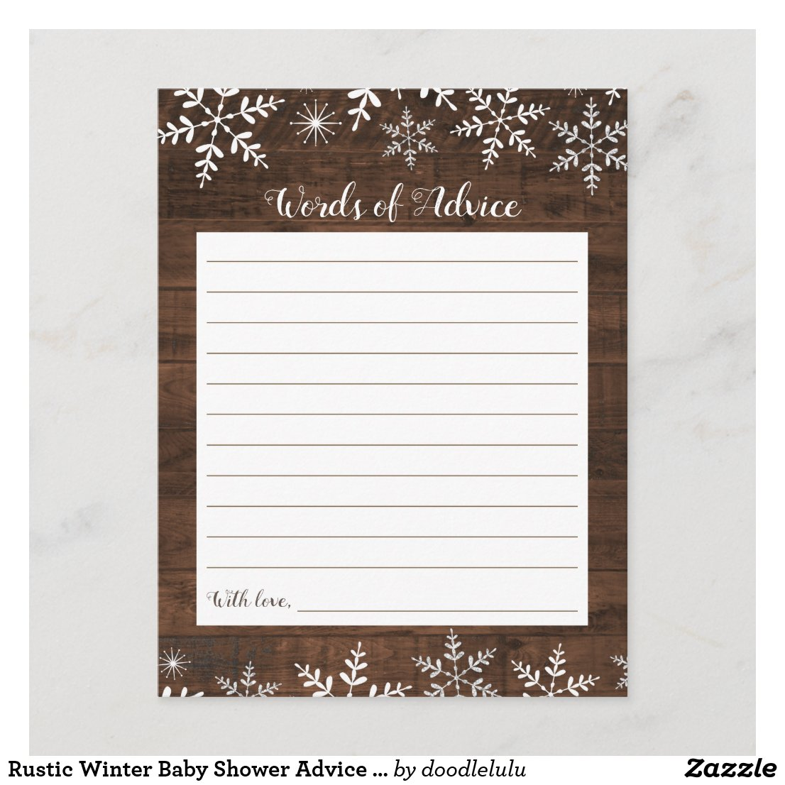 Rustic Winter Baby Shower Advice Card Snowflakes