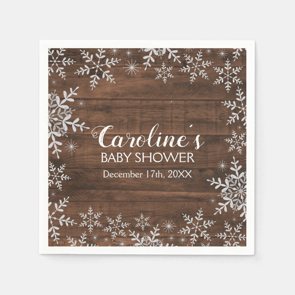 Rustic Winter Baby Shower Glitter Snowflakes Napkin