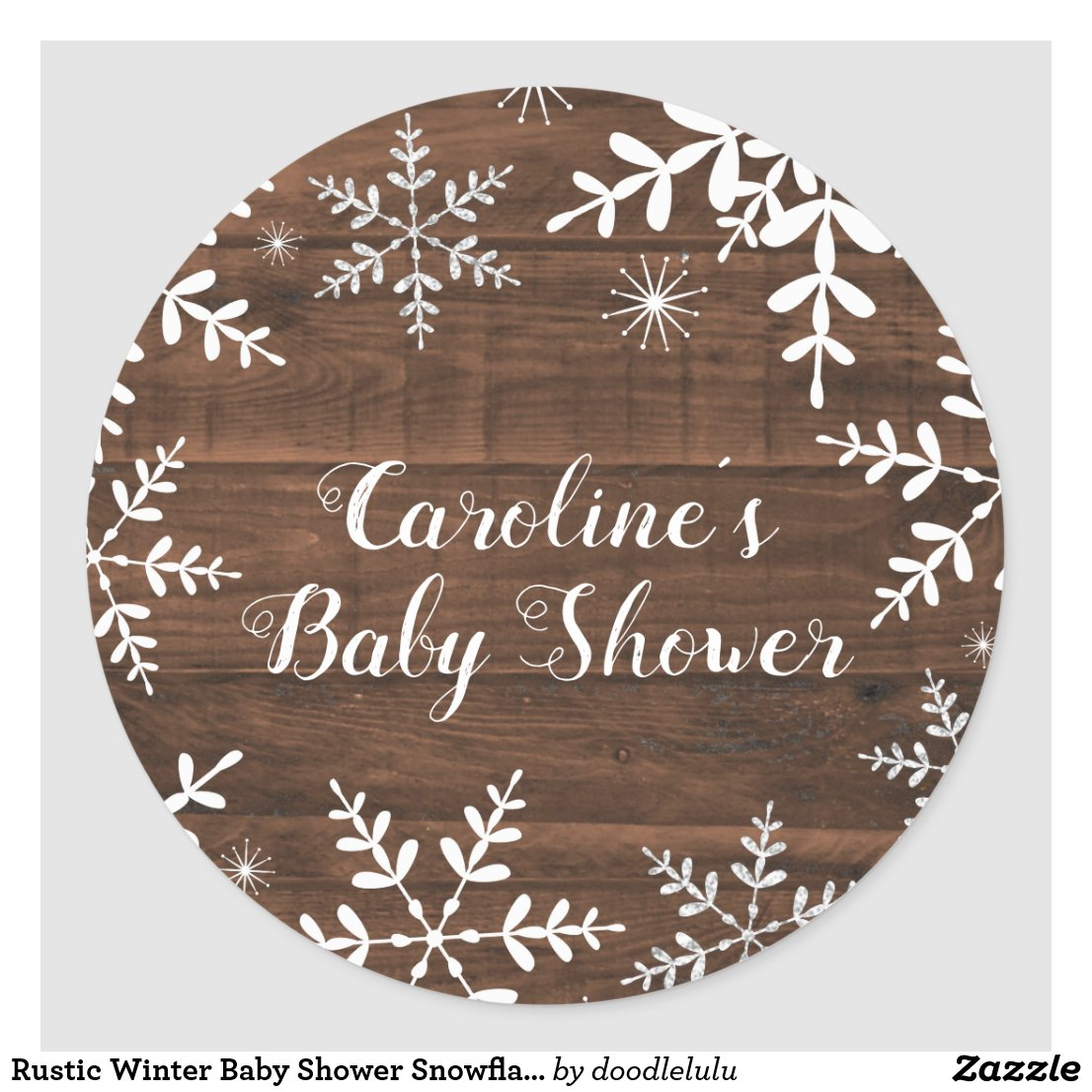 Rustic Winter Baby Shower Snowflakes Classic Round Sticker