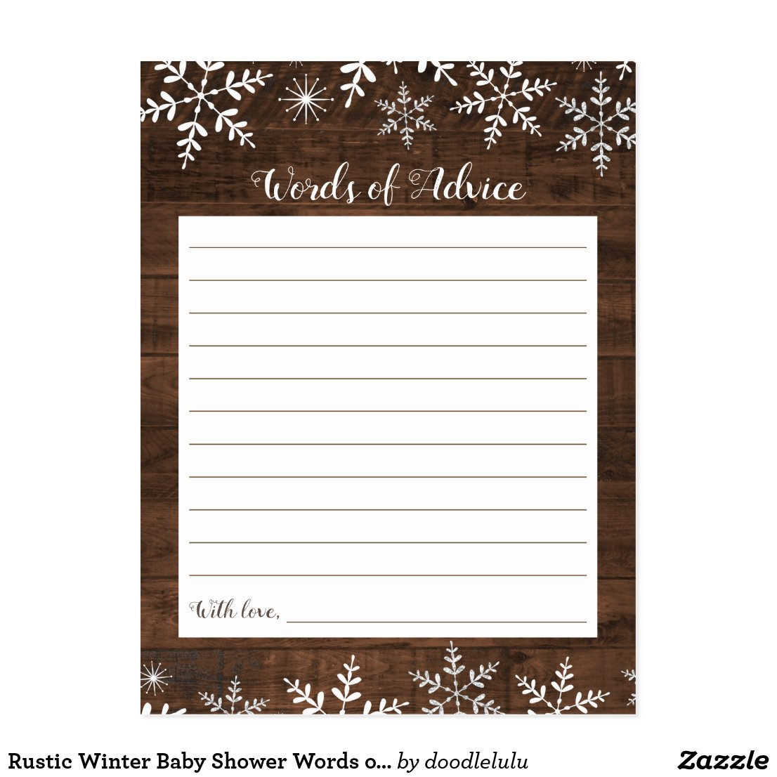 Rustic Winter Baby Shower Words of Advice Snow Postcard
