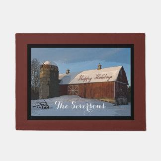 Rustic Winter Barn Happy Holidays Doormat
