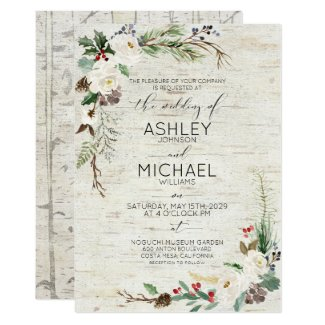 Rustic Winter Birch Calligraphy Botanical Wedding Invitation