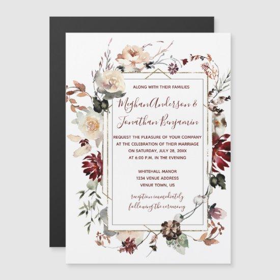 Rustic Winter Bloom Floral Burgundy Wedding   Magnetic Invitation
