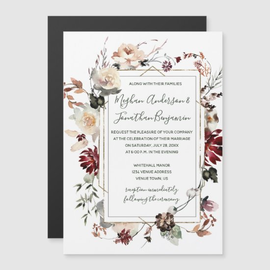 Rustic Winter Bloom Floral Forest Green Wedding   Magnetic Invitation