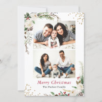 Rustic Winter Botanical Floral 2 Photos Christmas Holiday Card