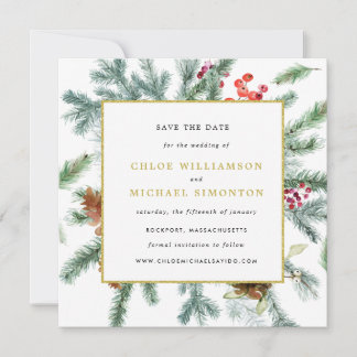Rustic Winter Botanical Wedding Save The Date