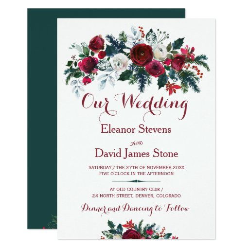 Rustic winter burgundy pine green floral wedding Invitation