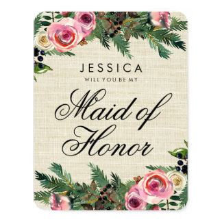 Rustic Winter Burlap Will You Be My Maid of Honor Card
