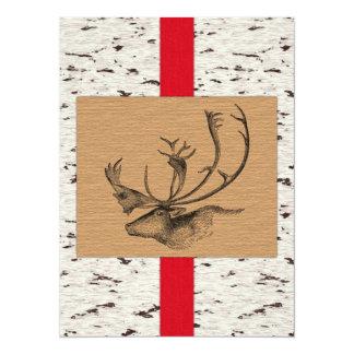 "Rustic Winter Caribou 5.5"" X 7.5"" Invitation Card"