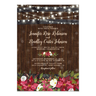 Rustic Winter Christmas Floral Barrel Wedding Invitation