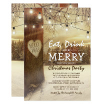 Rustic Winter Christmas Holiday Themed Party Invitation
